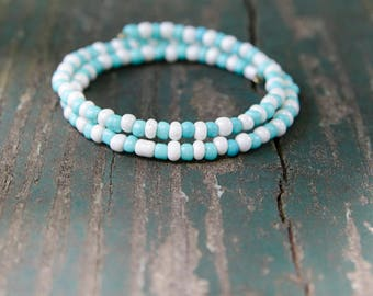 Blue and White Beach Day Bracelet