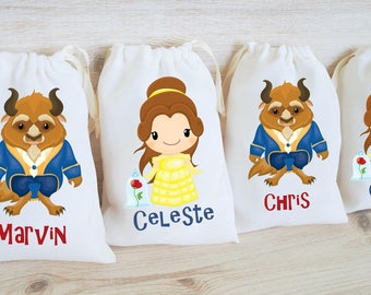 Beauty and the Beast Favor Bags Disney Beauty and the Beast Party Favors Personalized Party Gift Bags Loot Bags Goodie Bags Belle Character