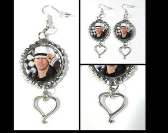 Donnie Wahlberg Earrings w/ Heart Charms FREE SHIPPING NKOTB New Kids On The Block
