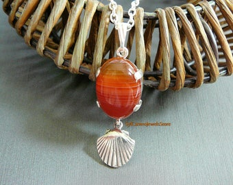 Fire Agate Pendant Sterling Silver Setting & Shell Charm Chain Necklace Lariat Style Jewelry