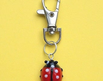 Glass Ladybird Handbag Charm Bag Purse Zip Gift Present New LB15