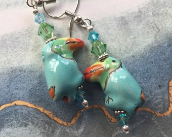 Parrot Lampwork Earrings, Lampwork Earrings, Beadwork Earrings, Glass Bead Jewelry