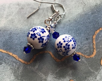 Blue and White Flowered Lampwork Earrings, Flower Earrings, Lampwork Earrings, Glass Earrings, For Her