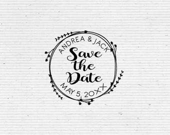 Personalized Save the Date, Wedding Stamp with Botanical Wreath BRS001-WEDDING