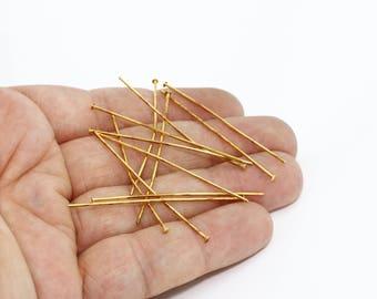 20Ga 50mm Raw Brass Head Pins, Head Pins, Jewelry Making , Brass, TBR49