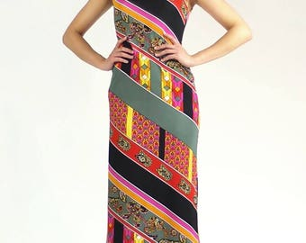 Womens Vintage 1960s - 1970s Bright Colorful Abstract Sleeveless Turtleneck Maxi Dress - Size 12, Small