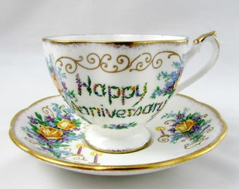 Anniversary Tea Cup and Saucer, Aniversary Gift, Wedding Gift, Queen Anne, Vintage Bone China