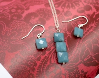 Sterling Silver Amazonite Necklace and earrings