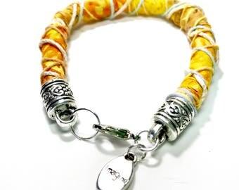 Fabric wrapped bracelet,Fabric Bracelet,Fabric jewelry,textile jewelry,tribal jewelry,boho bracelet,gypsy bracelet,cotton bracelet,teen gift
