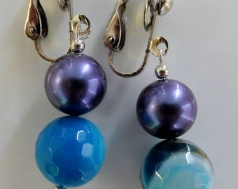 Clip-On earrings-blue earrings-gemstone earrings-semi precious earrings-handcrafted-one off-aqua teal-lilac earrings-feminine