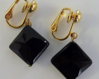 Clip On earrings-black earrings-gemstone earrings-semiprecious earrings-gold plated-handcrafted-one-off-onyx