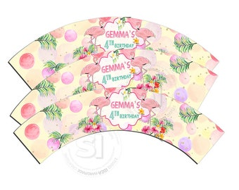 Flamingo Customized Printable Cupcake Wrappers - Personalized Printable Pink flamingo Liners- YOU PRINT-Digital file