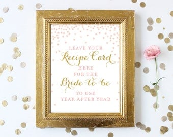 Leave Your Recipe Card Here for the Bride Sign . 8x10 Printable . Pink and Gold . Bridal Shower Wedding Sign . Digital File Instant Download