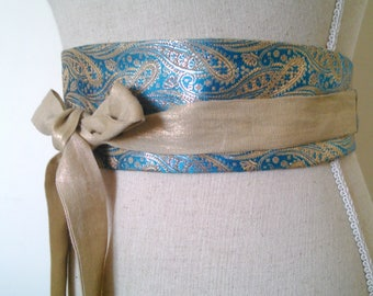 Turquoise and gold embroided silk Japanese Obi belt / belt reversible silk and gold linen / silk waist cincher / women belt