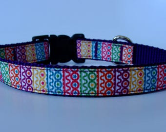 Colorful Small Dog Collar - READY TO SHIP!