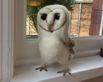 Needle Felt Fibre Art Baby Barn Owl.