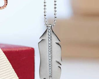 Boho Chic 14K White Gold .07 CTW Diamond Feather Pendant for your own Necklace;  Chain Sold Separately