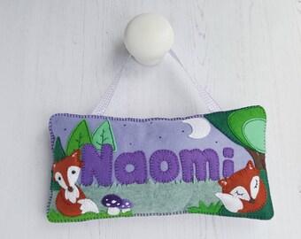 Fox Bedroom Door Sign - Fox Door Plaque - Fox Wall Art - Nursery Door Hanger - Fox Nursery Decor - New Baby Gift - Baby Name Gift