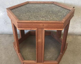 Vintage Mid Century Brown Saltman Hexagon Table (SQN2EF)