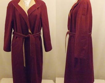 80's Reversible All Weather Trench Coat  Maroon Tan Size L