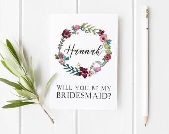 Bridesmaid Card, Will You Be My Bridesmaid? Bridesmaid Proposal, Winter Wedding Card, Maid Of Honor Card, Card For Bridesmaid, Wreath Card