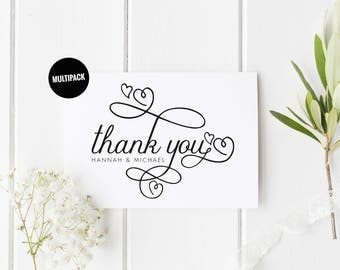 Pretty Wedding Thank You Cards 10 Personalised Thank You Card Pack, Thank You Card Set, From New Mr & Mrs, Heart Wedding Thank You Card