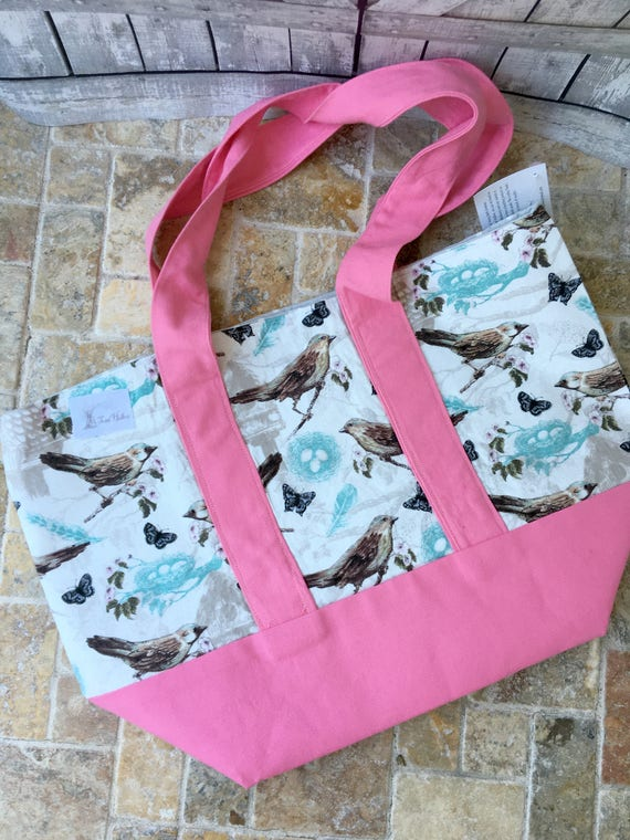 Bird Canvas Tote Bag,Bird Tote Canvas,Tote Bag Canvas,Tote Bag with pocket,Project Bag Knitting,Project Bag Crochet,Toad Hollow bag,bird bag