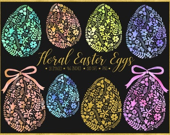 70% OFF SALE. Watercolor Easter Egg Clipart. Floral Easter Egg. Pastel Watercolor Spring Clipart. Hand Drawn Pink, Mint, Gold Easter Clipart