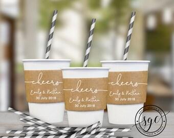 Wedding Cheers Cup Sleeves   Paper Cup Sleeves   Coffee Sleeves   Hot Beverage Sleeves   Bride Groom Favors   social graces and co.