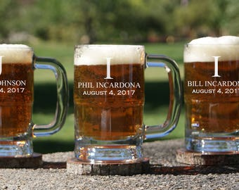 Personalized Beer Mug / Groomsmen Gifts / Beer Glass with Handle / Custom Engraved Beer Stein / Groomsman Gift / Gifts for The Groom