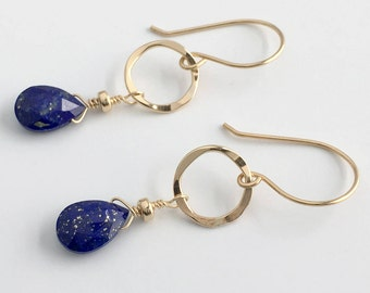 Blue Jewelry Ideas - Wife Blue Gift - Blue Earrings for Women - Lapis Lazuli Earrings - Blue Lapis Earrings