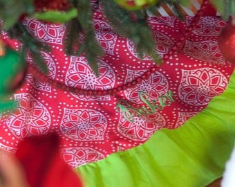 Monogrammed Christmas Tree Skirt Red And Lime Green Modern Ruffled Home