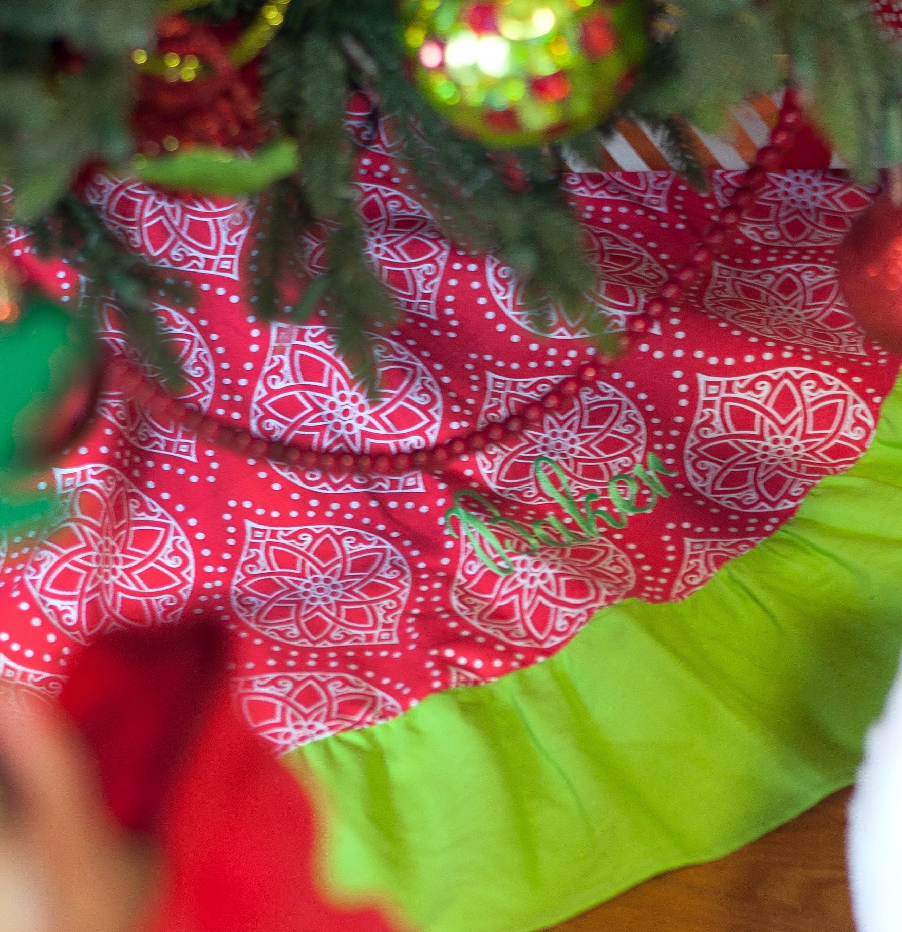 Monogrammed Christmas Tree Skirt Red And Lime Green Modern Ruffled Home Decor Personalized Holiday