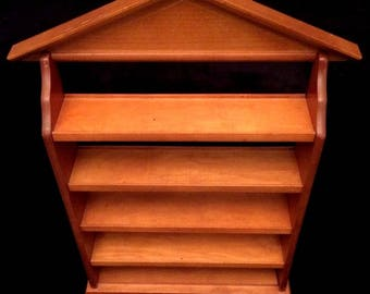 "Large Vintage 22 1/2"" Wood Handcrafted 5 Tier Shelf Rack Display Wall Hanging"