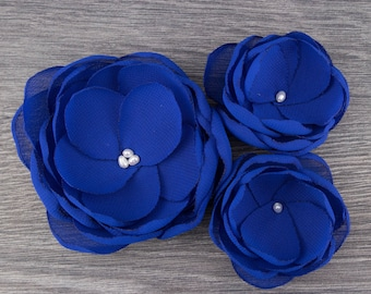 Royal Blue Hair Flowers - Royal Bridesmaids - Blue Flower Clips - Blue Flower Girls - Blue Accessory - Blue Hair Clips