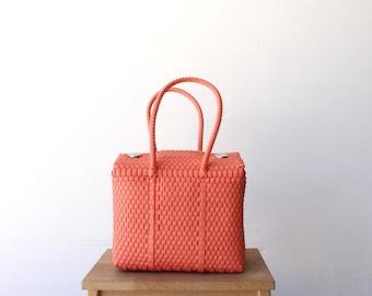 Coral Handwoven Mexican Bag, Oaxaca Tote, Mexican Plastic Bag, Mexican Basket, Mexican Art, MexiMexi, Picnic Basket