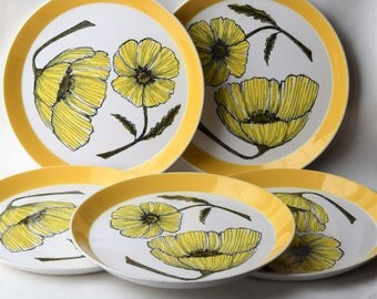 Ben Seibel Duet Dishes, set of 5 Mikasa Duplex Yellow Poppy