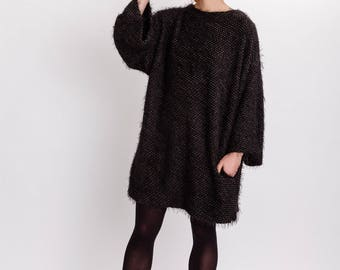 Oversized woman's dress / Shapeless soft wool dress / Lagenlook elegant dress / Plus size woman's dress / Side pocket dress / Fasada 17173