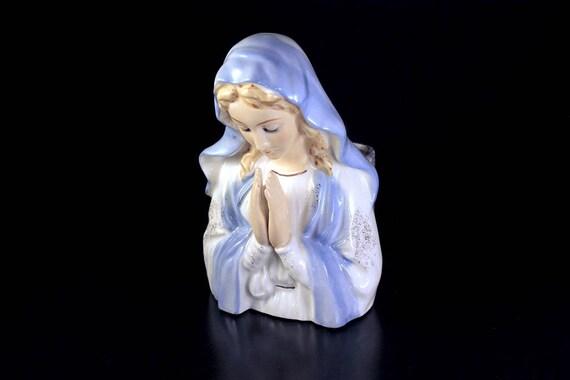 Praying Madonna Planter, Figurine, Vase, Statue, Blue and White, Gold Trim