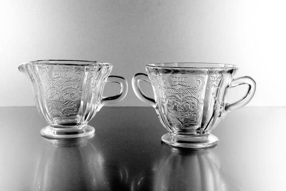 Sugar and Creamer,  Federal Glass, Madrid Pattern, Depression Glass, Pressed Glass, Scroll Design, Clear Glass