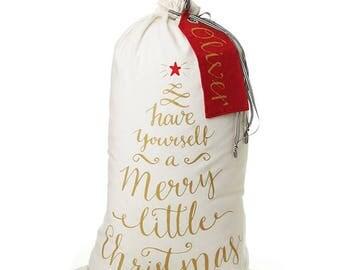 Personalised Canvas Merry Little Christmas Santa Sack