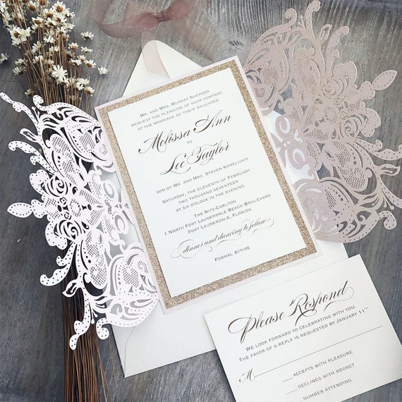 MELISSA ROSE GOLD Glitter - Blush Laser Cut Wedding Invitation with Rose Gold Glitter and Sheer Ribbon - Elegant Laser Cut Invite