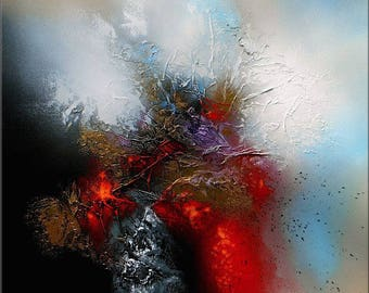 """Abstract contemporary textured acrylic painting canvas """"OPHIUCHI"""" black red white blue golden gray modern contemporary abstract painting"""