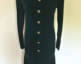 Vintage 70s 80s Saint Laurent - Yves Saint Laurent - green velvet long sleeved evening dress size Medium