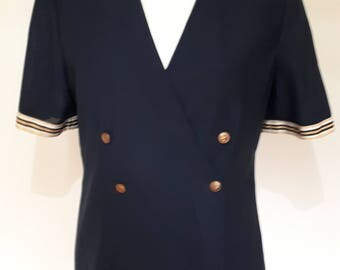 Vintage blazer jacket 80s short sleeve navy jacket with white gold trim nautical style size large