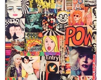 POP WORLD Collage Art Card, Handmade and Signed, Packaged to Send