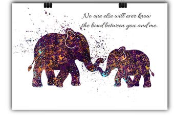 Kids Wall Art Elephant Printable Elephant Nursery Decor Elephant Nursery Art Nursery Printable elephant wall Art Mother and Baby Love Quote