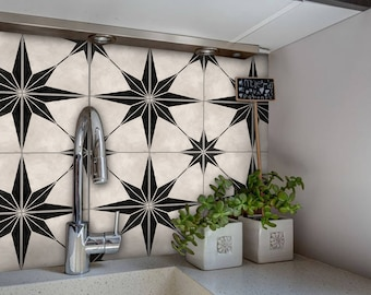 Kitchen and Bathroom Splashback - Removable Vinyl Wallpaper - Astra Black - Peel & Stick