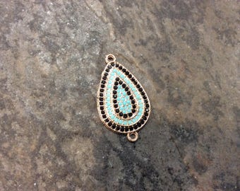Rose Gold Teardrop Connector with black and turquoise pave bead detail Jewelry Connector
