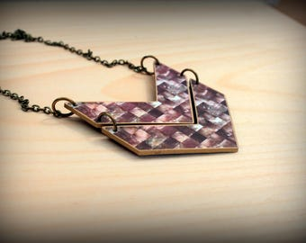 Chevron Necklace - Chevron Jewelry - Faux Shell Necklace - Faux Mother of Pearl - Optical Illusion - Geometric Necklace - Shrink Plastic Art